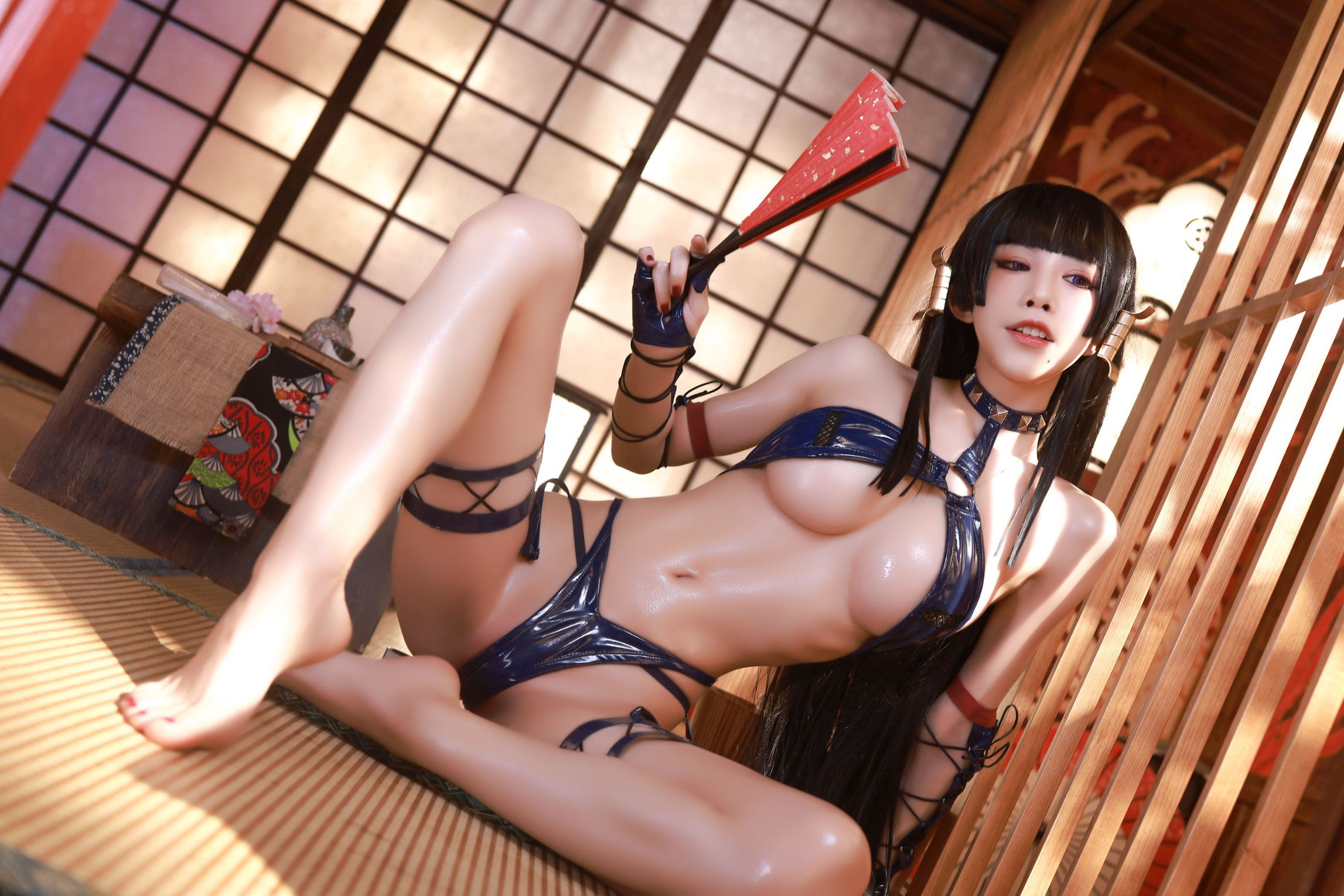Aqua Delighted Beautiful Female Tengu Cosplay