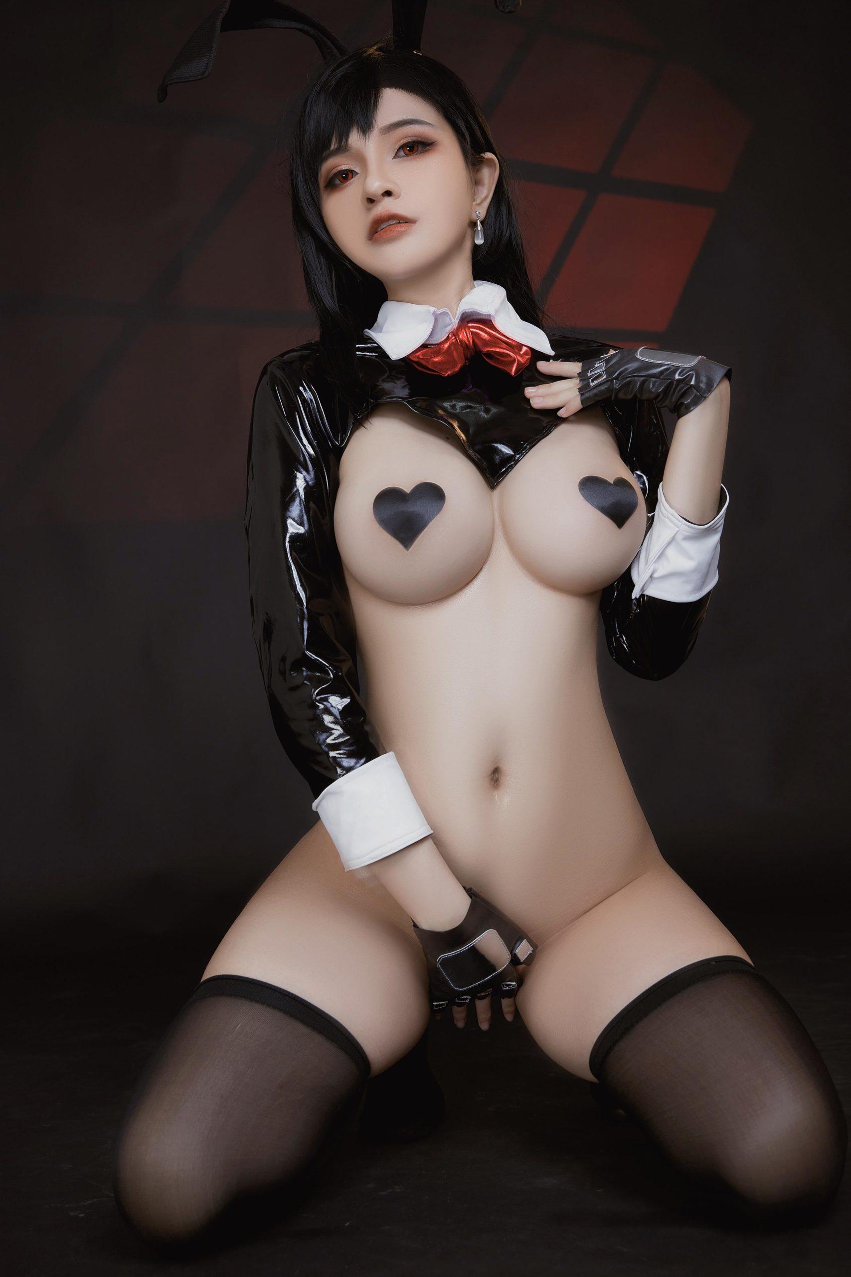 Tifa Lockhart Bunny Girl Ero-Cosplay by Azami Barely Covered