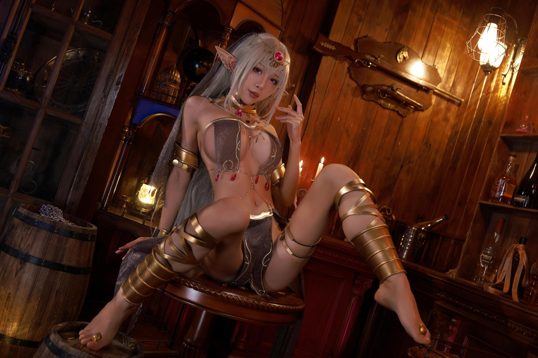 Tan Dancer Elf Succubus Cosplay by Aqua 12