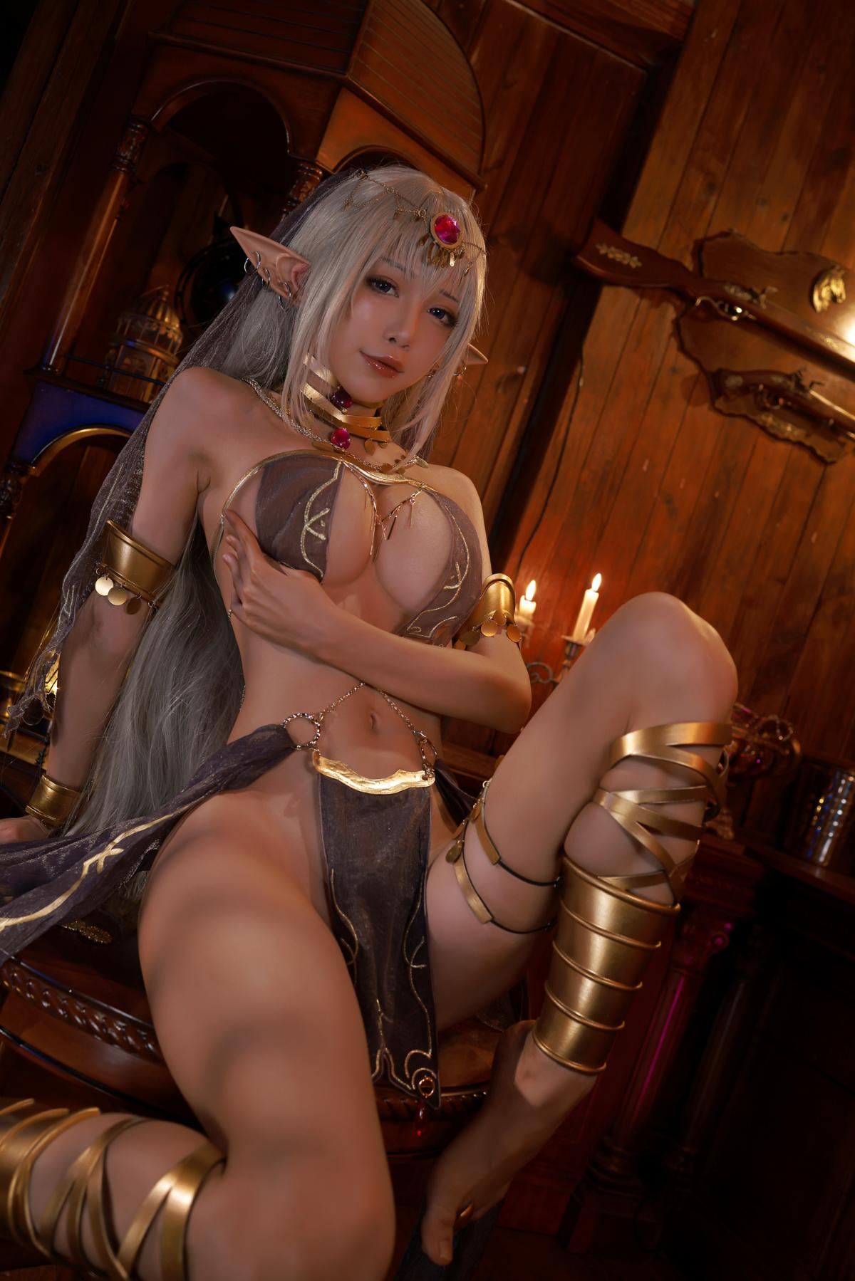 Tan Dancer Elf Succubus Cosplay by Aqua 15