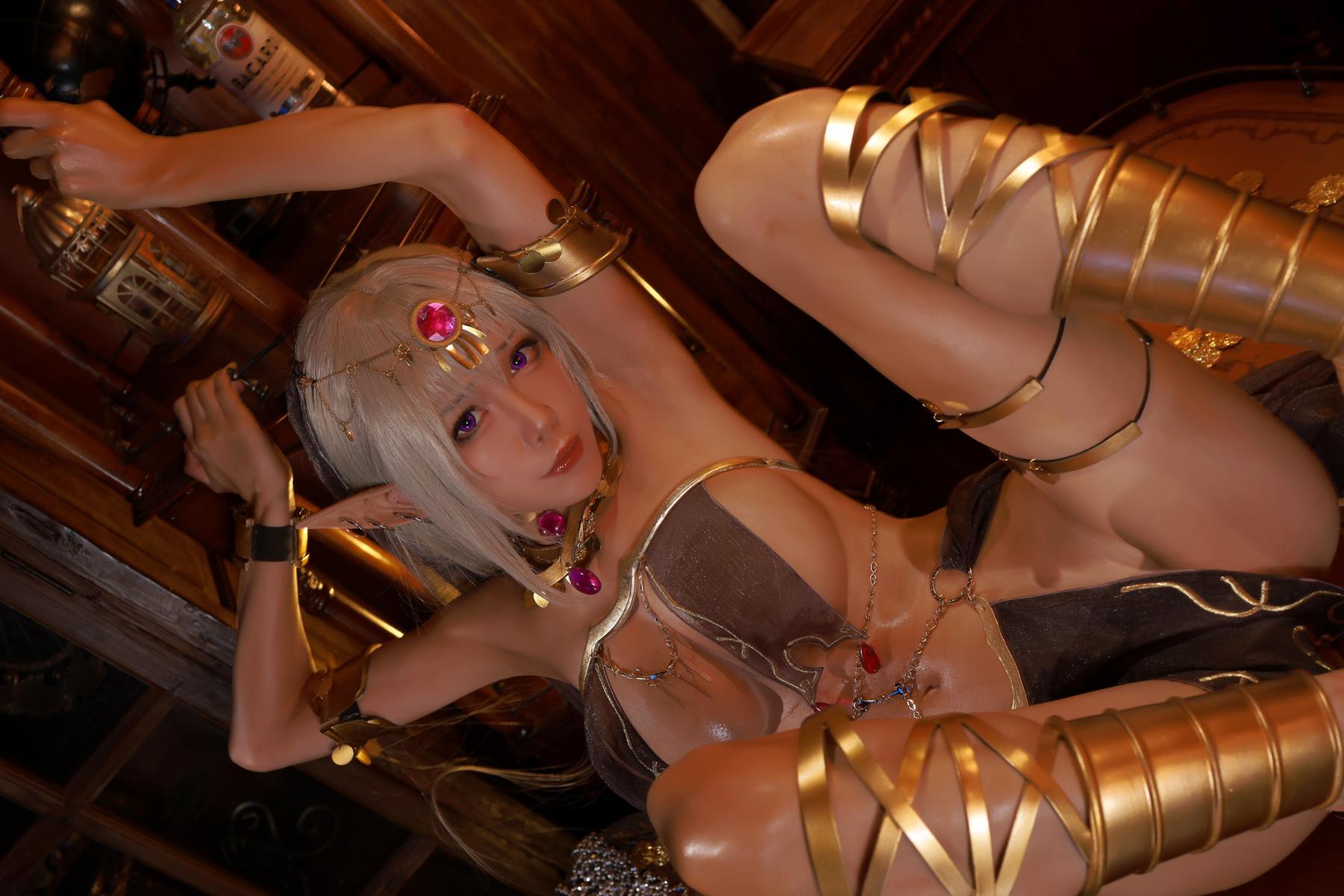 Tan Dancer Elf Succubus Cosplay by Aqua 30