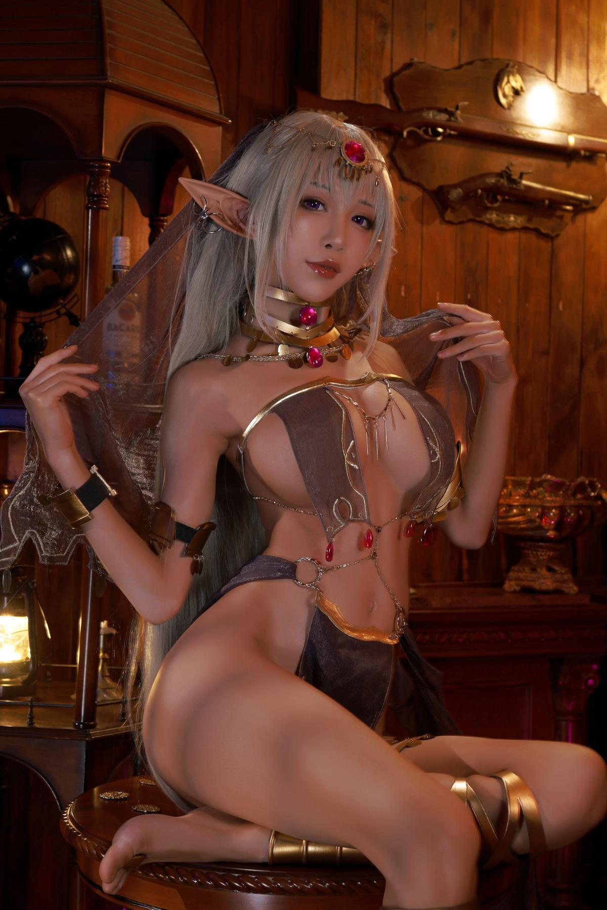 Tan Dancer Elf Succubus Cosplay by Aqua 5